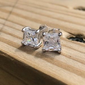 Other - 925 Silver Square Cut CZ Diamond Earrings